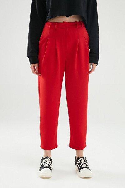 Quzu Pilise Detaylı Pantolon Kırmızı