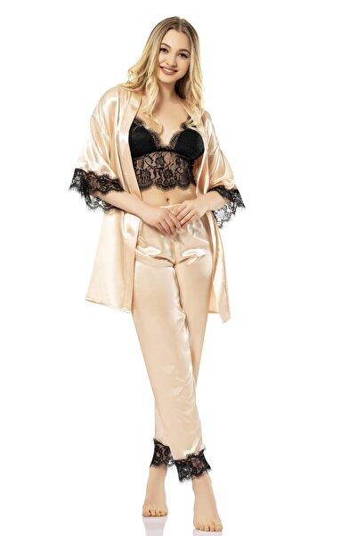 Vip Madame Kadın 4'lü Saten Pijama Takım Set