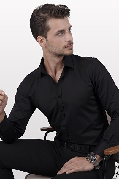 Etikmen Siyah Saten Slimfit Erkek Gömlek