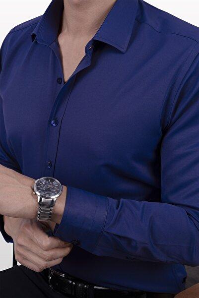 Etikmen Parliament Mavisi Saten Slim Fit Erkek Gömlek