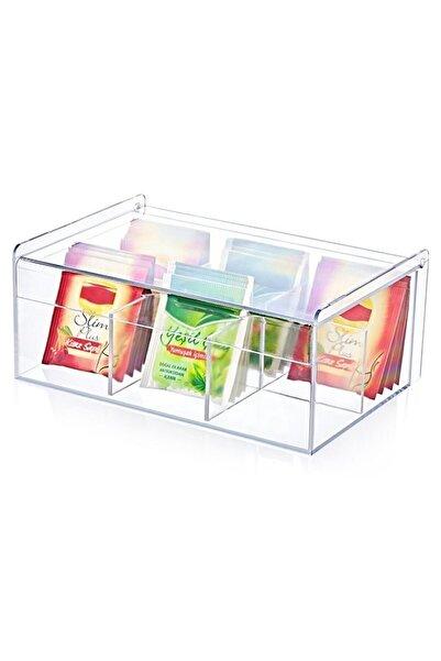 Fenx Concept Çay Kutusu 6 Bölmeli Kapaklı Poşet Bitki Çayı Saklama Kabı