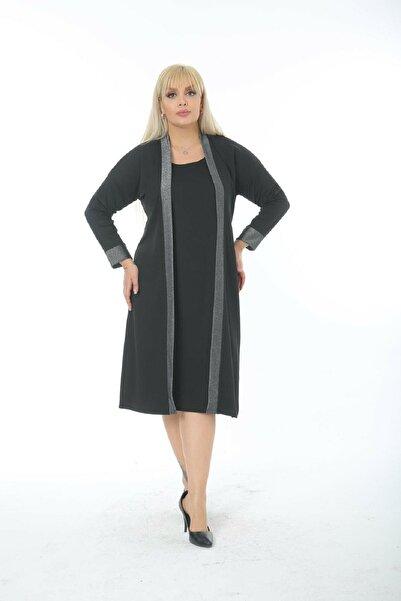 Şirin Butik Büyük Beden Sim Şerit Detaylı Çelik Interlok Kumaş Tek Parça Elbise