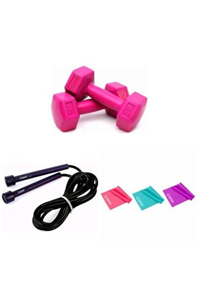 Cosfer Pilates,egzersiz Seti( 1 Kg *2 Adet Dambıll,3'lü Pilates, Direnç Bandı 120*7,5 Cm,1 Adet Atlama Ipi)