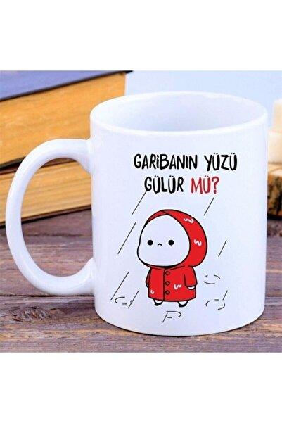 Mavera Dükkan Garibanın Yüzü Gülür Mü Yazılı Kupa Bardak ( Kırmızı )