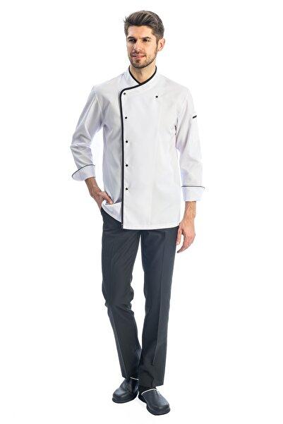 TIPTEKS Siyah  Beyaz Biyeli Klasik Aşçı Ceketi