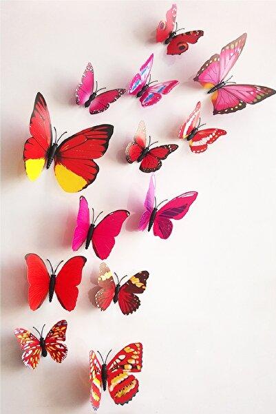 UAT Products Mıknatıslı Ve Yapışkanlık 12 Farklı Boyut Kelebek Sticker Seti Magnet