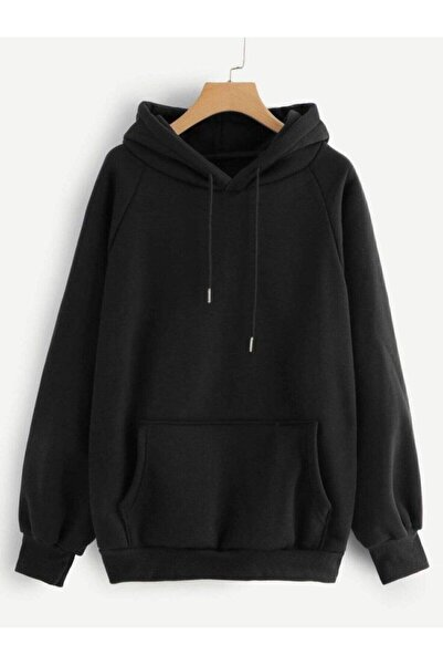 TEKSTİLCİM Unisex Siyah Düz Basic Sweatshirt