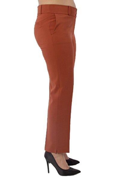 Hanezza Büyük Beden Tarçın Yüksek Bel Likralı Bilek Boy Cepli Kumaş Pantolon