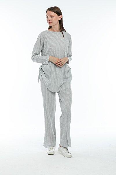 Zoze Tekstil Yanları Bağcıklı Füme Tunik-pantolon Takım