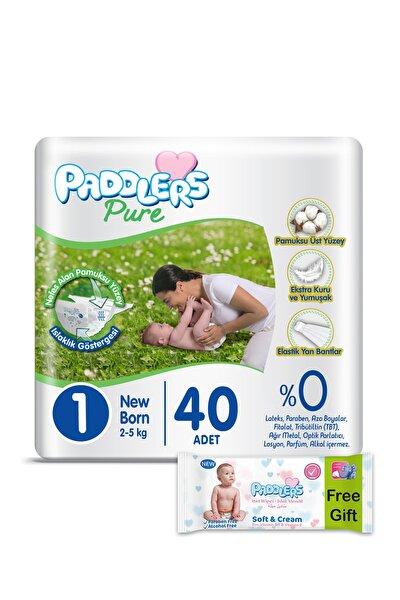 Paddlers Pure Bebek Bezi 1 Numara Newborn 40 Adet 2-5 Kg ve 40'lı Islak Mendil
