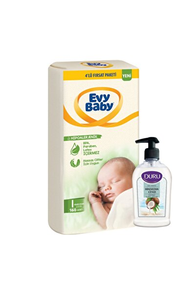 Evy Baby Bebek Bezi 1 Beden Yenidoğan 4'lü Fırsat Paketi 160 Adet+duru Hindistan Sabun Hediyeli