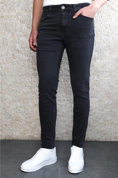 Collezione Collezıone Jeffrey Taşlamalı Slim Fit Antrasit Kot Pantolon