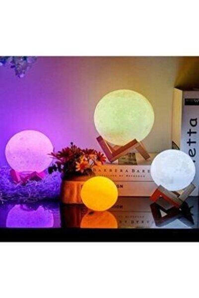 PiCare 3d Moonlight Dokunmatik 5 Farklı Renk Değiştiren Dekoratif Dolunay Ay Küre Gece Masa Lambası