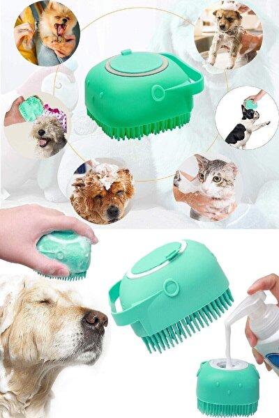 İndirimKap Şampuan Hazneli Kedi Ve Köpek Evcil Hayvan Yıkama Fırçası Silikon
