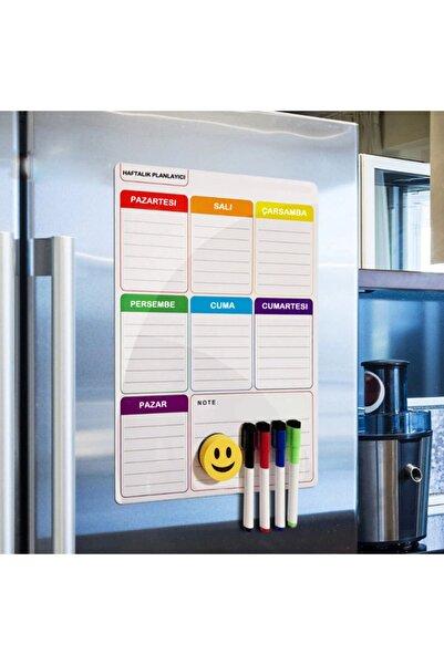 Dünya Magnet Haftalık Magnet Planlayıcı , 35x50 Cm Katlanabilir Silinebilir Mıknatıslı Yazı Tahtası + 3 Kalem