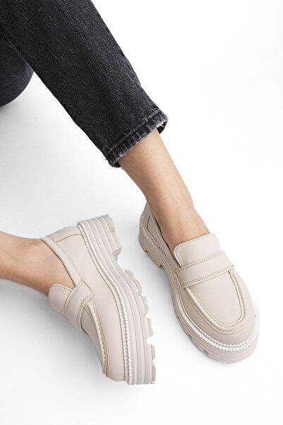 Marjin Kadın Platform Kalın Eva Taban Loafer Ayakkabı Kupseekru