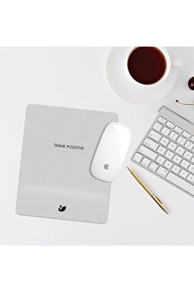 Özer Store Gri Think Posıtıve Yazılı Bilek Destekli Dikdörtgen Mouse Pad Mouse Altlığı
