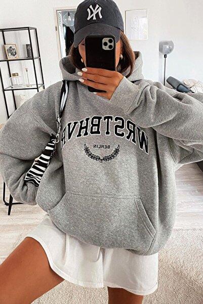 Madmext Mad Girls Gri Kadın Sweatshirt Mg923
