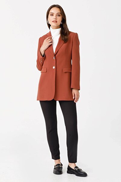 Moda İlgi Modailgi Çift Dügme Uzun Ceket Taba