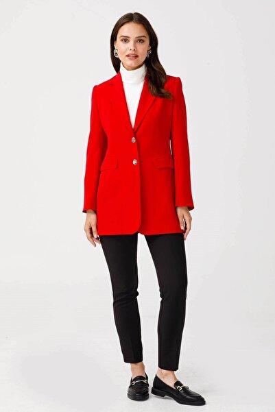 Moda İlgi Çift Dügme Uzun Ceket Kırmızı