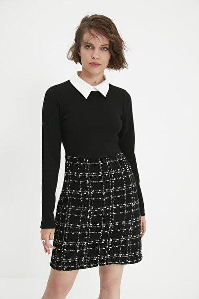 TRENDYOLMİLLA Siyah Tüvit Gömlek Yaka Elbise TWOAW21EL0454