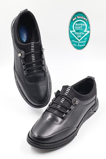 nazenintasarımlar Erkek Siyah Ortopedik Iç Dış Komple Deri Jelli Ultra Rahat Günlük Ayakkabı