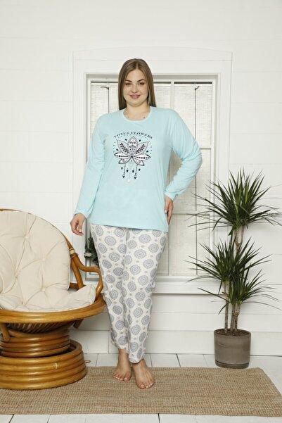 Temporium Kadın Turkuaz Büyük Beden Lotus Flowers Baskılı Uzun Kollu Pijama Takımı