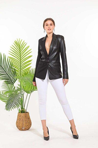 SİSLİNE Siyah Deri Detay Ceket