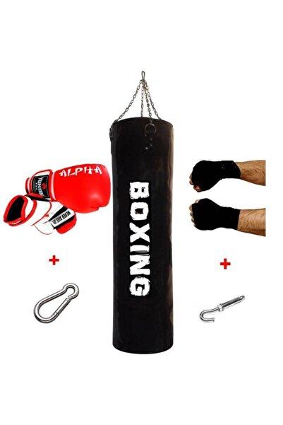 A Boxing 100x30 Cm Boks Kum Torbası Seti + Eldiveni + Bandaj + Tavan Aparatı Hediyeli