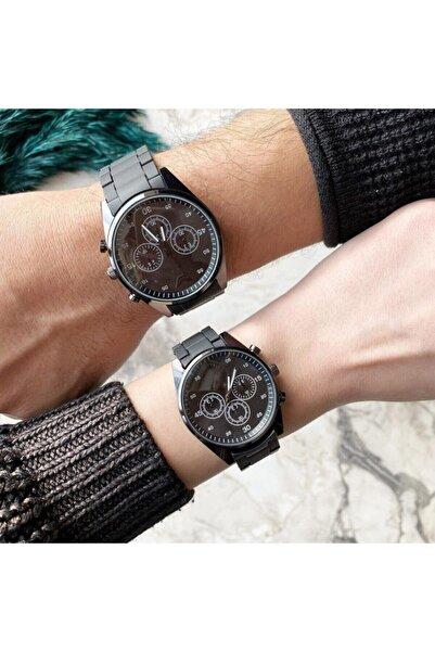 ÇENÇEN Sevgili Saatleri Çelik Kasa Siyah Renk Çift Kol Saatleri