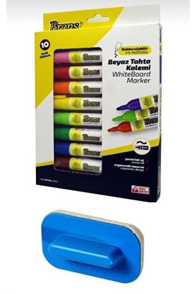 Brons Whiteboard Marker Doldurulabilir Beyaz Tahta Kalemi Seti 10 Renk Silgi