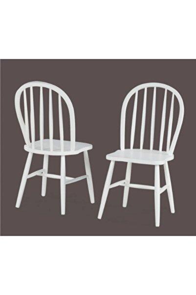 METSAN Amerikan Sandalye Beyaz Cilalı Ahşap