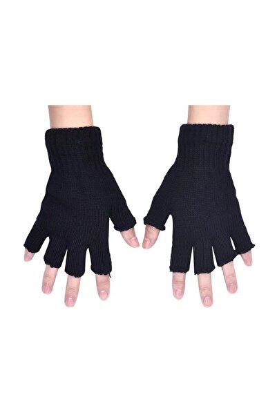 Kshop Parmaksız Kesik Yarım Parmak Eldiven Siyah