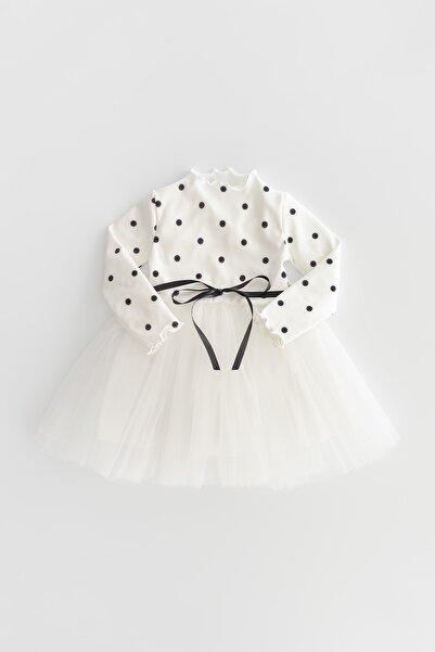 Banamio Ivy Puantiye Baskılı Pamuk Astarlı Tüllü Kaşkorse Bebek/çocuk Elbise (beyaz)