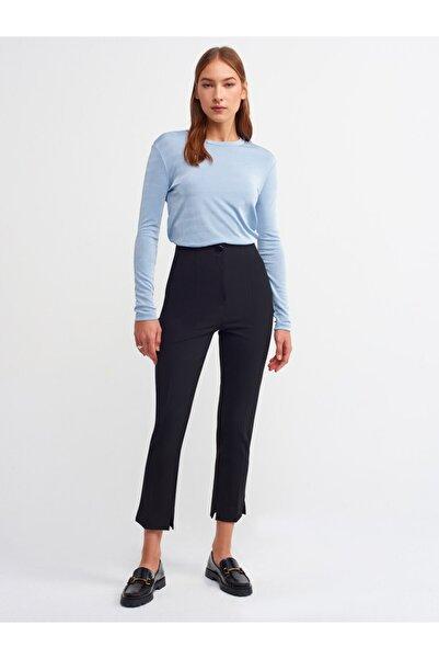 Dilvin 4841 Çıtçıtlı Yüksek Bel Pantolon-siyah