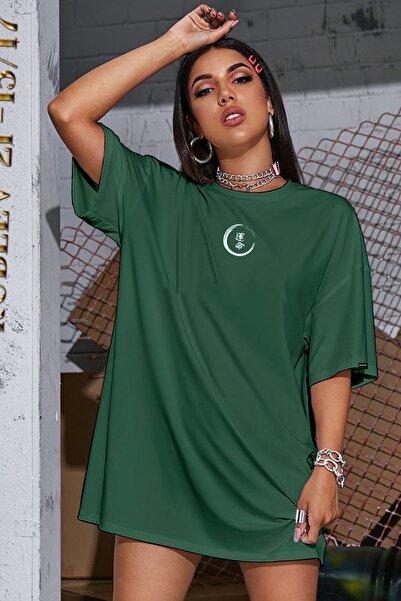 Pasage Oversize Zen Baskılı Yeşil Tshirt