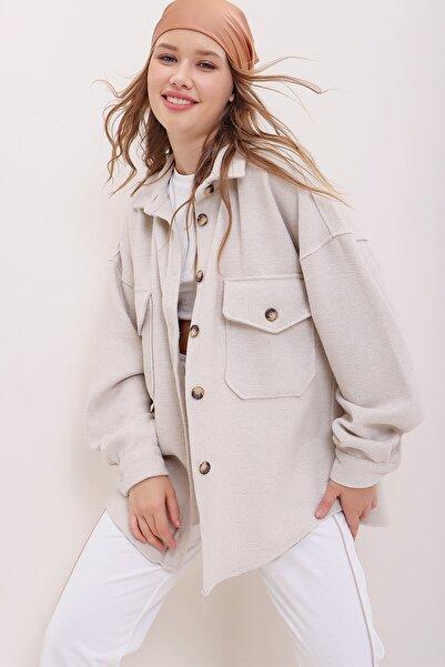 Trend Alaçatı Stili Kadın Taş Kaşe Pamuklu Oversize Ceket Gömlek ALC-X7143