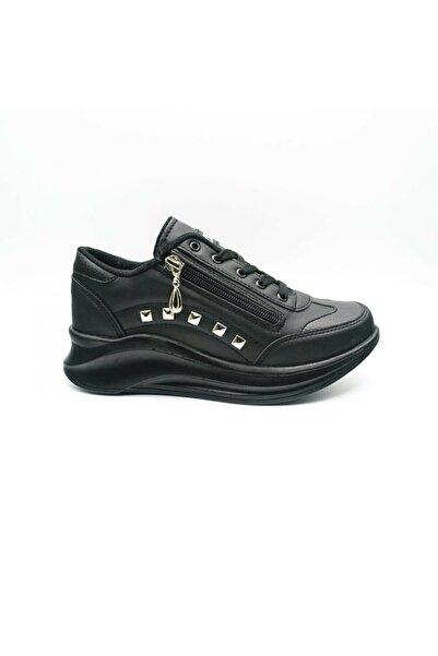 Moda İkiz Kadın Siyah Yüksek Topuk Spor Ayakkabı
