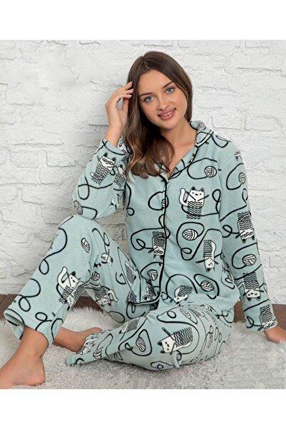 Sude Homewear Plr-p-9023 Yeşil Bayan Önden Düğmeli Polar Pijama Takımı