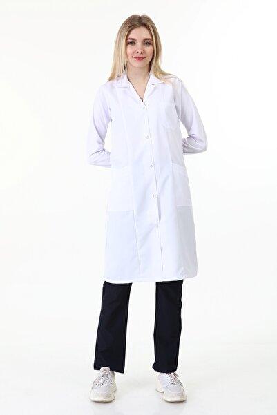 Palmiye Tesettür Uzun Boy Gömlek Yaka Doktor Öğretmen Laborant Önlüğü