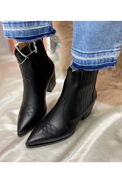 sweet girl Kadın Siyah Kalın Topuklu Kovboy Bot Sivri Burun Günlük Casual Western Buti Bootie
