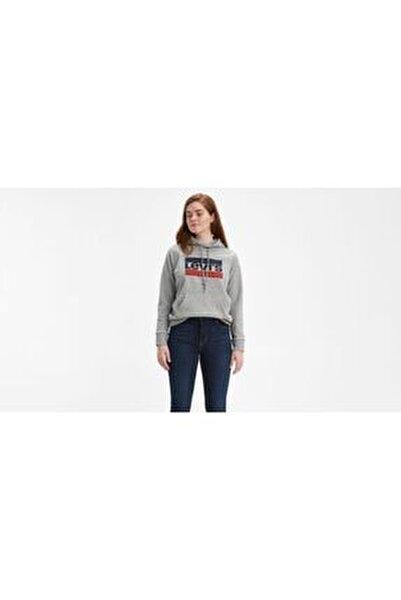 Sport Graphic Kadın Gri Kapüşonlu Sweatshirt