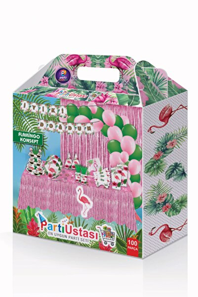 Parti Ustası Flamingo Doğum Günü Parti Seti 100 Parça