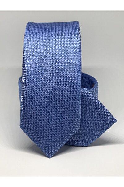 Kravat Gezegeni Mavi Renk Slim Fit Oxford Kuş Gözü Desen Kravat