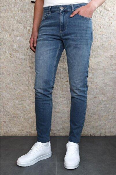 Collezione Collezıone Steve Taşlamalı Slim Fit Mavi Kot Pantolon
