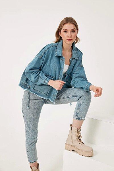 Fulla Moda Çift Cepli Altı Büzgülü Oversize Kot Ceket