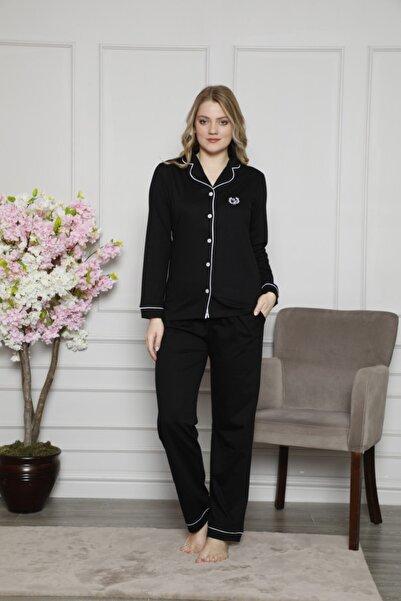 ALİMER Kadın Önden Düğmeli Gömlek Yaka Uzun Kollu Pijama Takımı