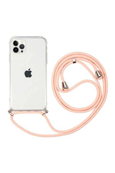 MobilCadde Iphone 13 Pro Max Askılı Şeffaf Pembe Silikon Kılıf