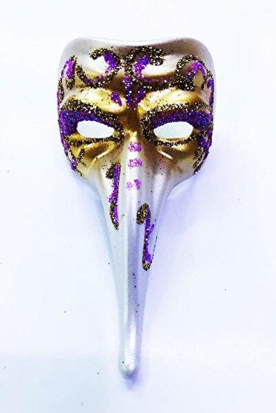 Samur Fuşya Renk Işlemeli Seramik Malzemeden Imal Venedik Uzun Maske Magnet