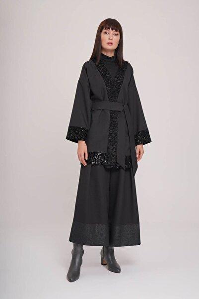 Mizalle Pul Detaylı Kimono (SİYAH)